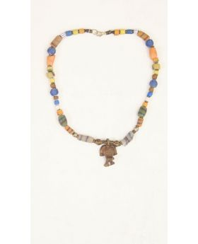 Benin Solibera Pendant necklace with leather necklace
