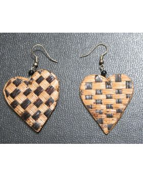 Heart Matted Banana Fiber Earrings