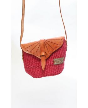Imprinted Flap Purse with Leather Shoulder Strap