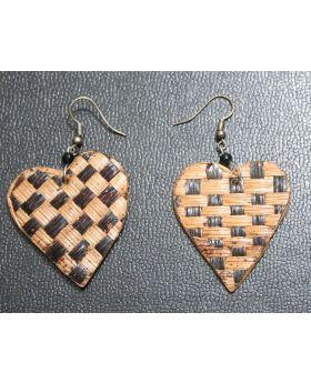 Heart Matted Banana Fiber Earrings