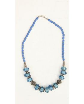 Coconut shell, silver and glass necklace